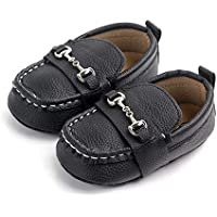 Lidiano Baby Soft Sole Toddler Loafers Boat Shoes Crib Shoes (6-12 Months, Black2)