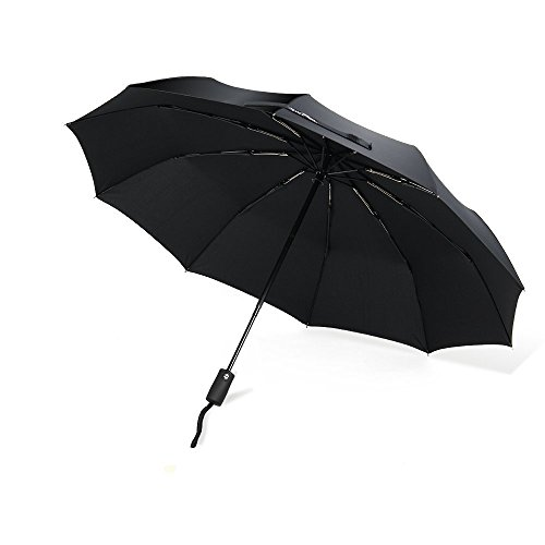 VIVREAL 折りたたみ傘 自動開閉式 ワンタッチ傘 飛び跳ね防止 10本骨 雨傘 ブラック