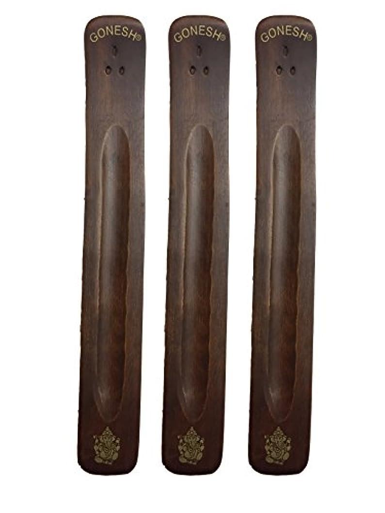 無謀溶融スリラー3パックGonesh Incense Burner ~ Traditional Incense Holder with Inlaidデザイン~約11インチ、のさまざまなデザイン