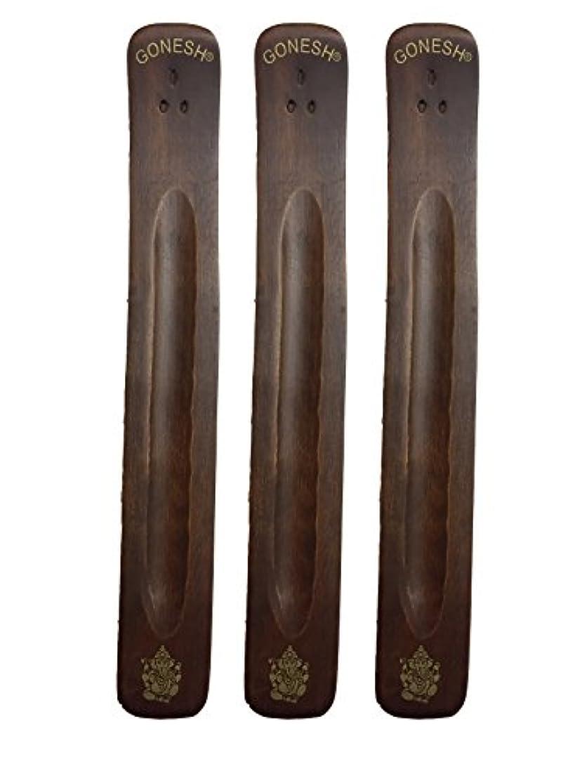 3パックGonesh Incense Burner ~ Traditional Incense Holder with Inlaidデザイン~約11インチ、のさまざまなデザイン