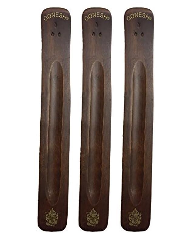 発揮する腫瘍ソロ3パックGonesh Incense Burner ~ Traditional Incense Holder with Inlaidデザイン~約11インチ、のさまざまなデザイン