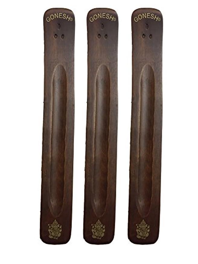 薬局引き受ける具体的に3パックGonesh Incense Burner ~ Traditional Incense Holder with Inlaidデザイン~約11インチ、のさまざまなデザイン