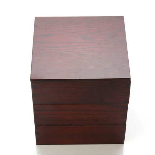 天然木製 6.5寸 三段重箱 木目 漆塗り