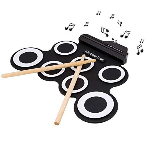 電子ドラム ポータブル メトロノーム機能 外部オーディオ入力 ペダル スティック付き 8デモ曲搭載 MP3/USB/スマ...