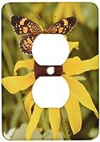 3drose LLC lsp _ 59154_ 6A Garden Flower with aバタフライ2プラグコンセントカバー