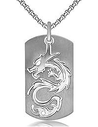 Golastartery ヒップホップ チタン鋼 動物 ドラゴン 犬 タグ ペンダント ネックレス,60CM チェーン