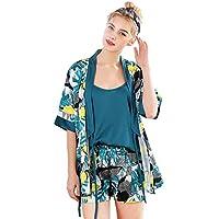 009db3ebc3 SODIAL Women Satin Pajamas Faux Silk Silky Pajama Set Elegant Robe 3pcs  Suspender Shorts Sleepwear Female