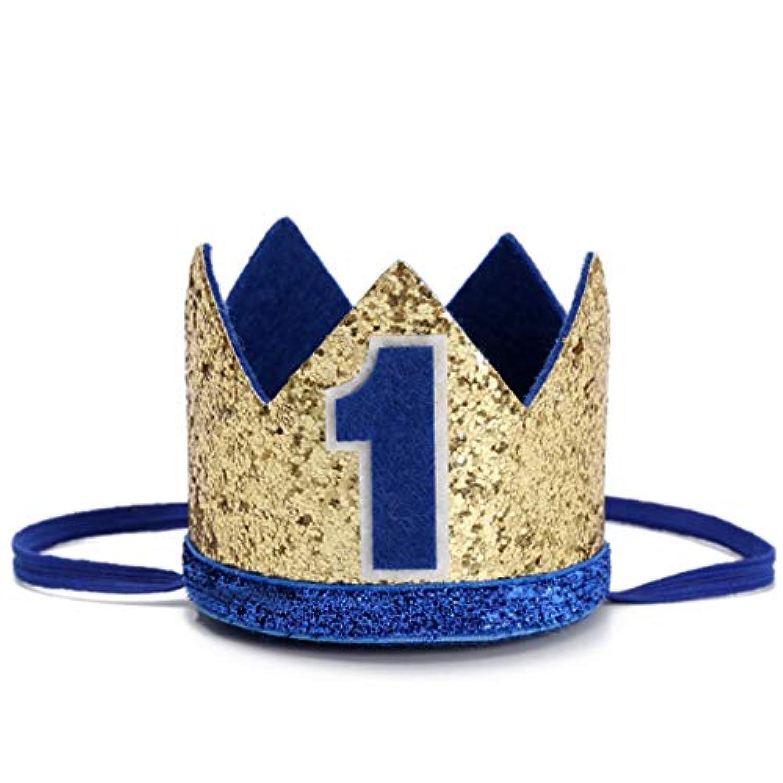 ベビー1歳の誕生日 男の子の王冠 - 男の子の赤ちゃん 1歳の誕生日 キラキラの王冠 1番ヘッドバンド 小さな王子のスマッシュ ベビーシャワー 写真小道具