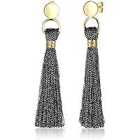 Elli Women Tassel Minimal Party 925 Sterling Silver Gold-Plated Earrings