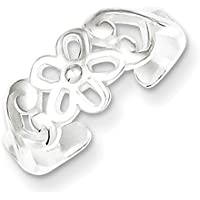 Lex & Lu Sterling Silver Flower Toe Ring