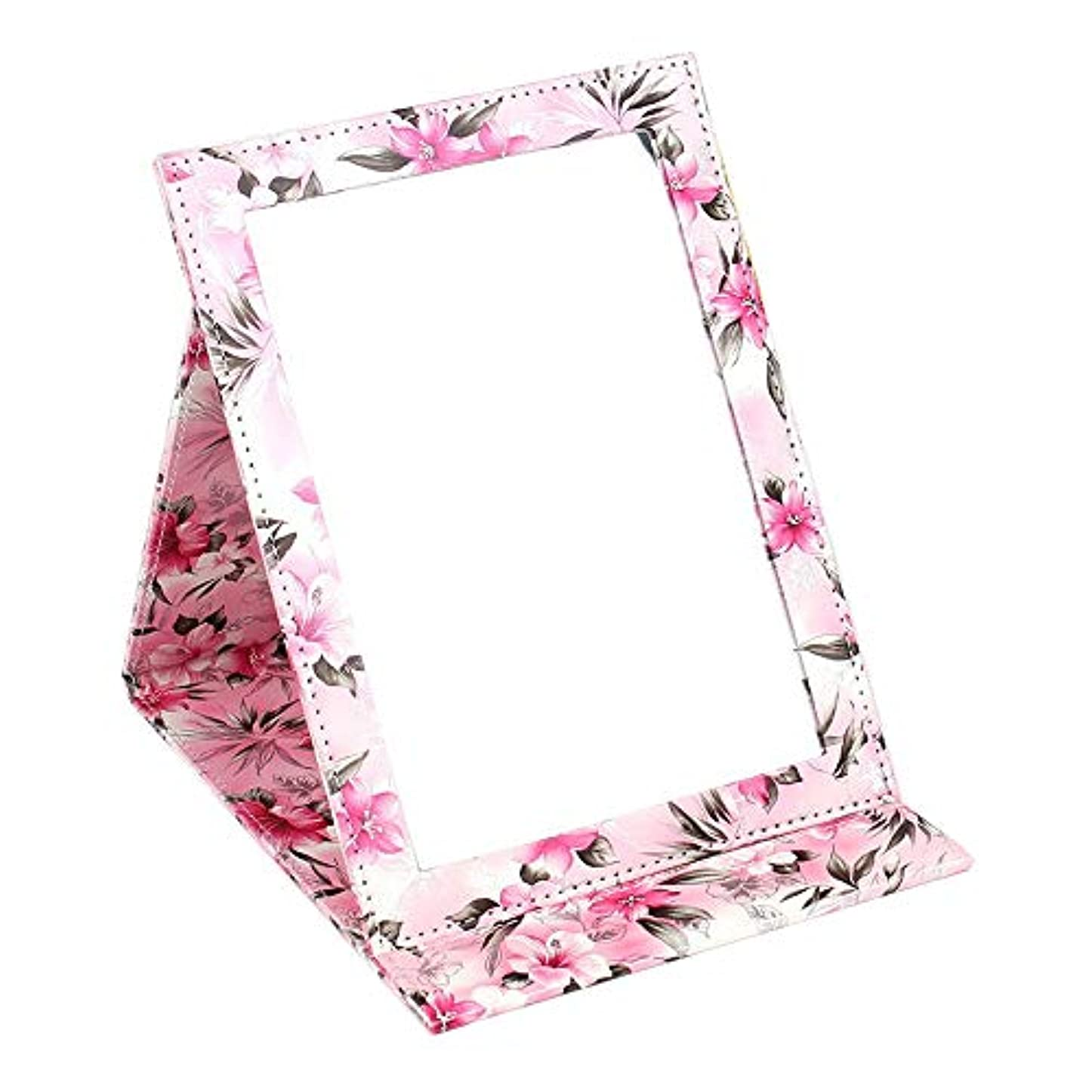 審判乱れモディッシュYummyBuy 化粧ミラー 折りたたみ ミラー 鏡 卓上 化粧 化粧鏡 角度調整自由自在 上質PUレザー使用(クロコダイル?パターン、2サイズ) (大きなサイズ, ハッピーカラー)