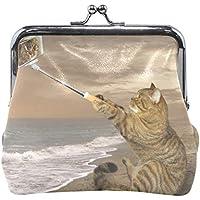がま口 財布 口金 小銭入れ ポーチ 猫 海 セルフ撮り 絵 ファッション Jiemeil バッグ かわいい 高級レザー レディース プレゼント ほど良いサイズ