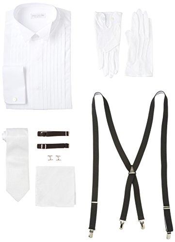 [ウイングカラー] コスパ最強フォーマル7点セット ウィングカラーシャツ ダブルカフス 新郎 小物 セット L