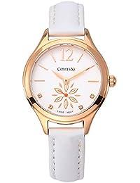 Comtex 腕時計 レディース スイス製ムーブメント スモールセコンド ピンクゴールド 時計 ホワイト 本革 エレガント
