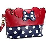 Cartoon Leather Travel Makeup Handbag, Cute Portable Cosmetic bag Toiletry (Red)