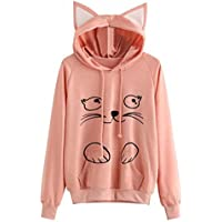 Womens Teen Girls Cute Cat Ear Hooded Sweatshirt Cat Print Pullover Hoodie With Pocket