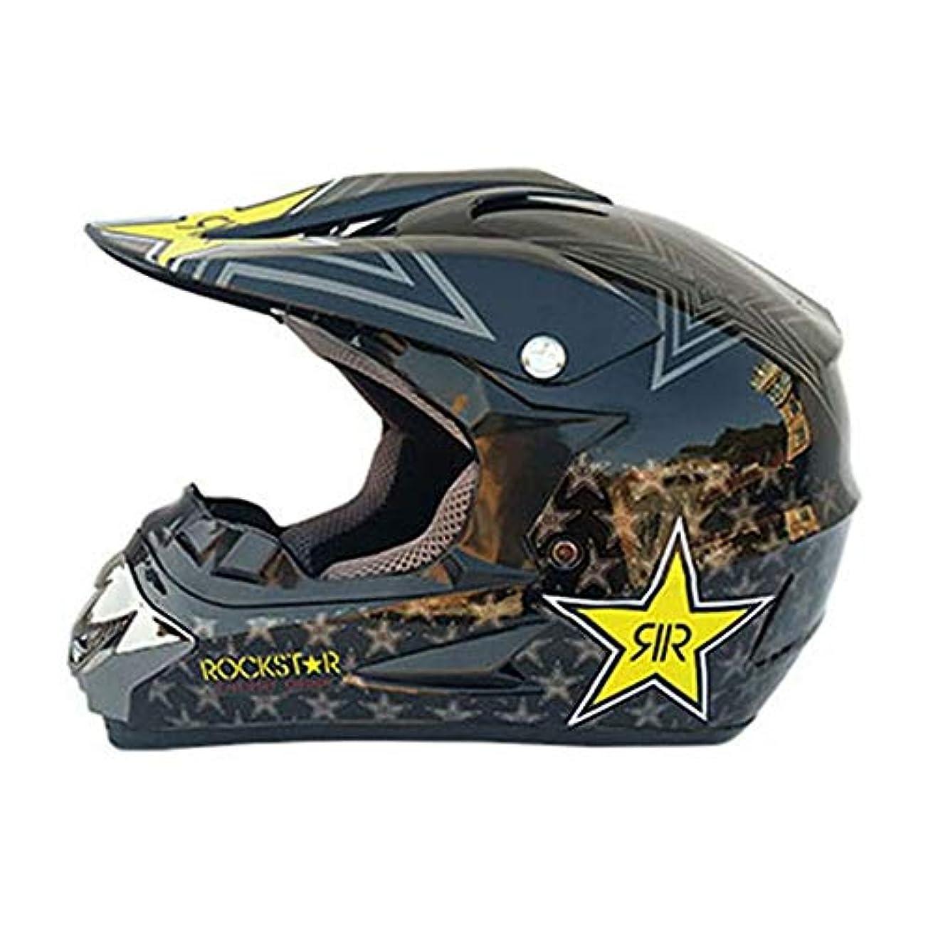 岸借りるメナジェリーTOMSSL高品質 モトクロスヘルメットオートバイヘルメット四季普遍的なプロバイクオフロードヘルメットダウンヒル安全レーシングヘルメット - 黒 - 黄色 - パターン - 大 TOMSSL高品質 (Size : L)
