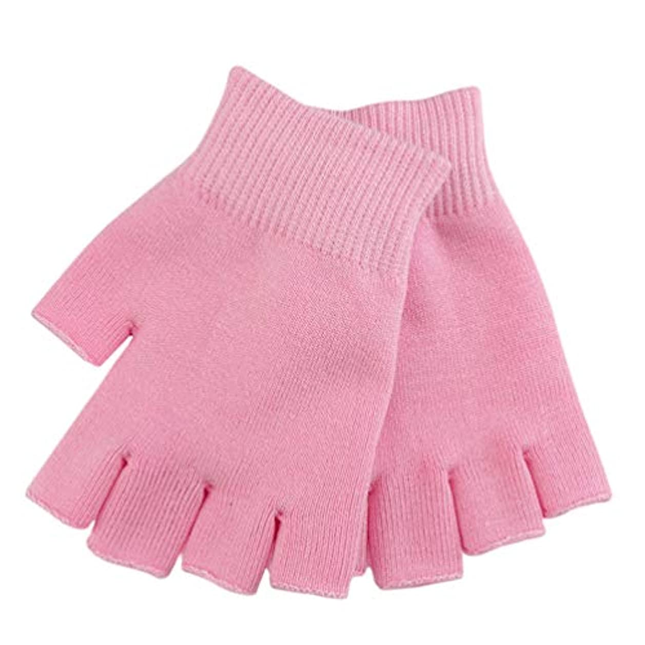 平和無効にする小川Healifty 保湿スパ手袋治癒のための半分の指のタッチスクリーン手袋綿ゲルライン精油水分指なしミトンに乾燥肌ひび割れ手(ピンク)
