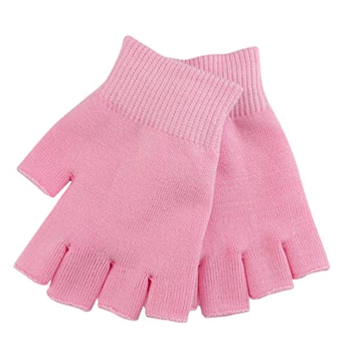 相関する湖版Healifty 保湿スパ手袋治癒のための半分の指のタッチスクリーン手袋綿ゲルライン精油水分指なしミトンに乾燥肌ひび割れ手(ピンク)