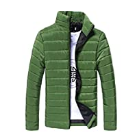zhaoabao-AU Mens Slim Fit Zip Thicken Stand Collar Solid Color Down Jacket Coat