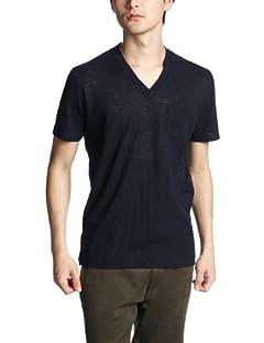 Linen V-neck T-Shirt 1117-299-1697: Navy