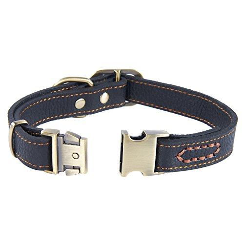 Pettom 本革 (レザー)犬 首輪 小型犬 中型犬 大型犬用 カラー オリジナル首輪 (M, ブラック)