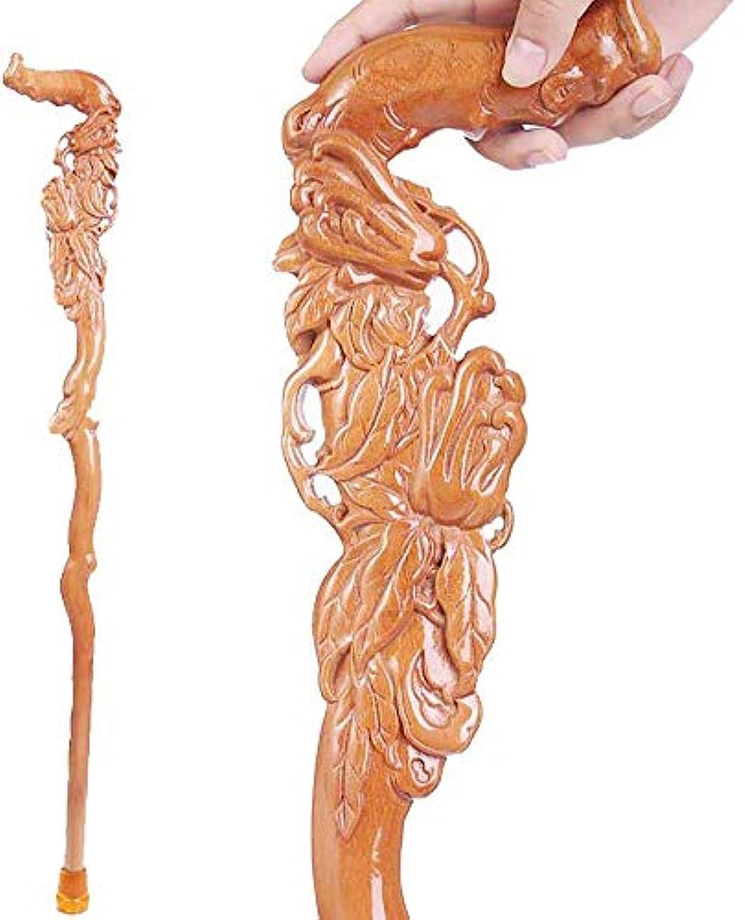 主観的オリエンテーション未亡人木製杖、手彫り松葉杖ウォーキングギフト、男性と女性90 cmのファッショナブルな頑丈な安定