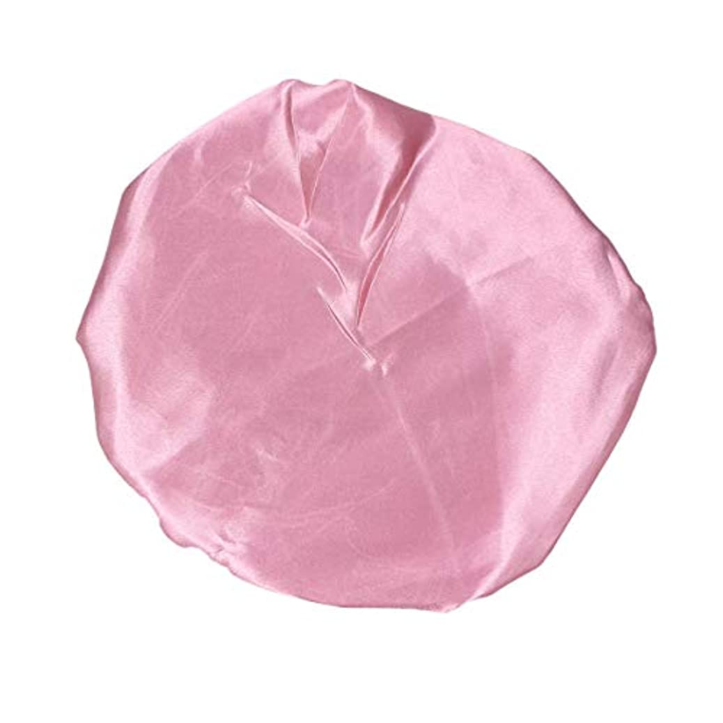 蒸気事業お茶Amosfun ピンクの女性のための防水弾性シャワーキャップ厚くされた二重層バス帽子