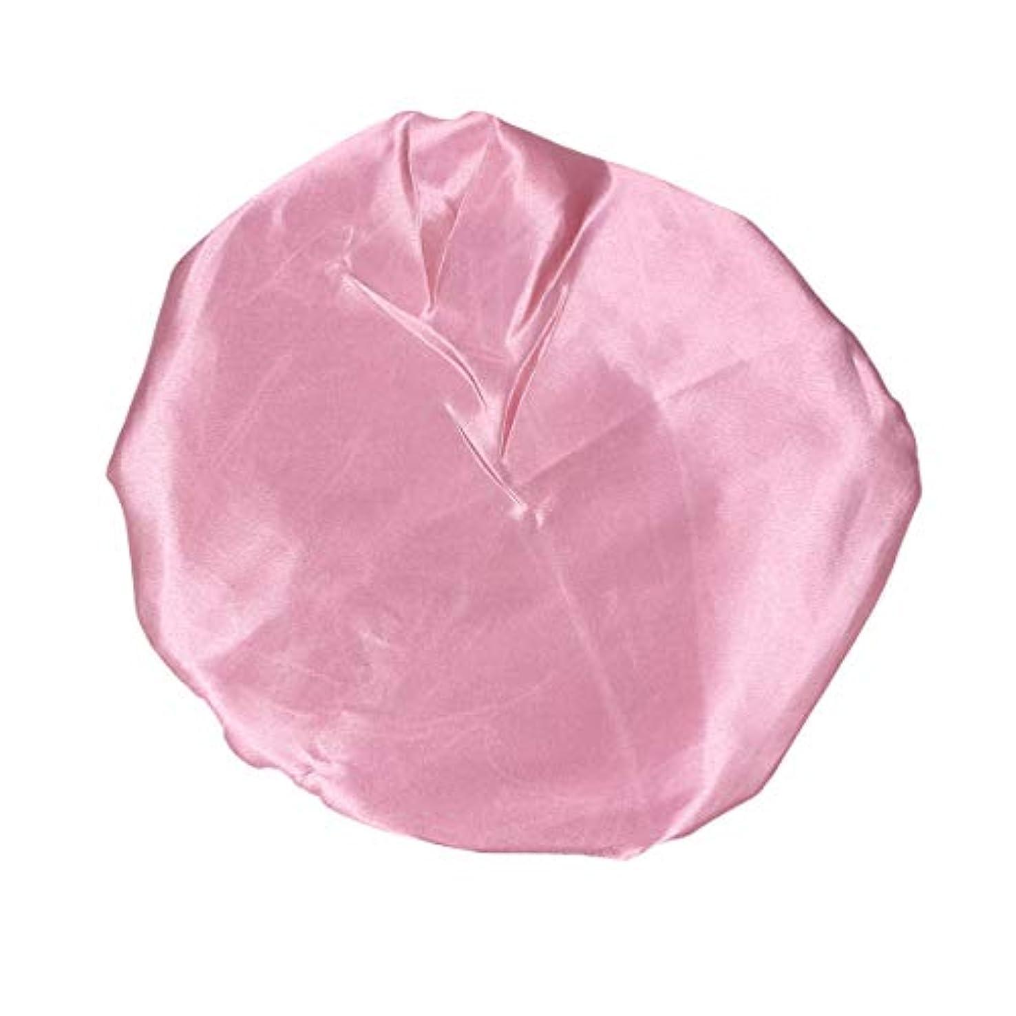 ブランチ子羊協定Amosfun ピンクの女性のための防水弾性シャワーキャップ厚くされた二重層バス帽子