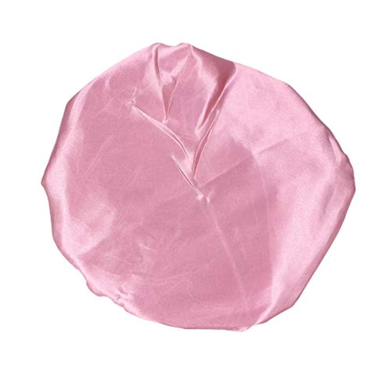 集中延ばす眠いですAmosfun ピンクの女性のための防水弾性シャワーキャップ厚くされた二重層バス帽子