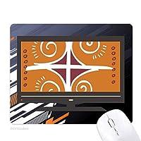茶色のパターンメキシコトーテムの古代文明の描画 ノンスリップラバーマウスパッドはコンピュータゲームのオフィス