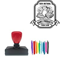 100% Natural Dairy Product Rom Farm Rectangle Badge Style Pre-Inked Stamp, Red Ink Included