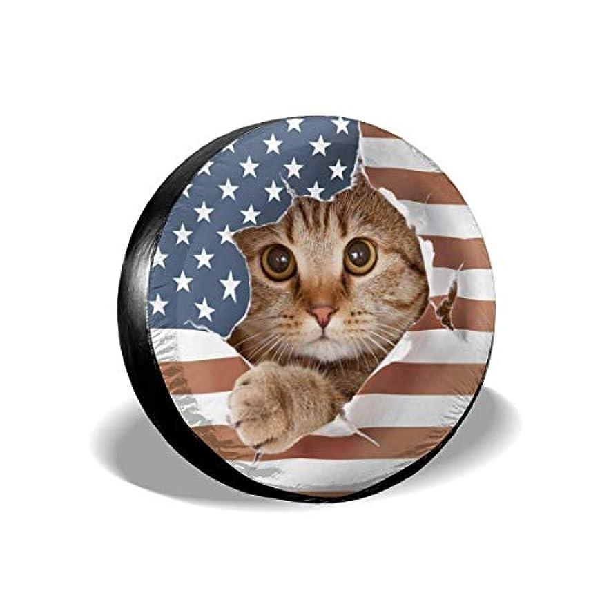 ダーリン会員クロールイギリスの猫紙アメリカンスタイリッシュなユニバーサルスペアタイヤカバー(14、15、16、17インチ)