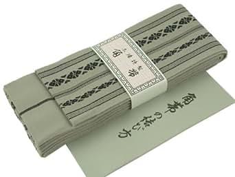 綿の角帯 日本製 献上柄 結び方ガイド付き (グレー)