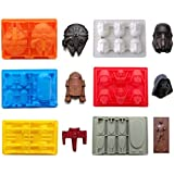 Eighteen-Me Star War Shaped Mold,Set of 6 Silicone Flexible Molds for Star Wars Lovers Robots Birthday Cake Decoration Candy Molds Chocolate Molds Soap Molds Baking Molds Smile stool Ice Cube Candy Dessert Jello Molds 6pcs Set