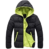 FSSE Men's Quilted Jacket Hooded Winter Contrast Down Puffer Jacket Coat Outwear