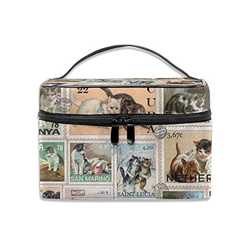 タイヤ不適かび臭い猫柄 切手 綴りの図案 化粧ポーチ 化粧品バッグ 化粧品収納バッグ 収納バッグ 防水ウォッシュバッグ ポータブル 持ち運び便利 大容量 軽量 ユニセックス 旅行する