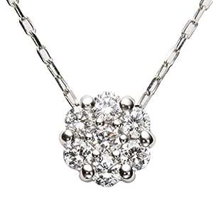 [パッション ダイヤモンド]セブンストーン ペンダント 0.1ct K10WG チェーンネックレス 40㎝