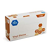 Medpride ビニール手袋   XXXXXXの箱   厚さ4.3ミル パウダーフリー 非滅菌 高耐久 使い捨て手袋   医療 食品の取り扱いなどにプロフェッショナルグレード L クリア