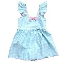 Teddy 水着 女の子 ワンピース キッズ 子供用 ジュニア 女児 小学生 肩 フリル kids313-B (B:ブルー, XL(120cm))