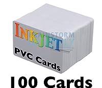 Brainstorm インクジェット印刷可能なPVC IDカード  Brainstorm ID拡張インク受容コーティング済み–防水で両面印刷可能–EpsonとCanonインクジェットプリンタにて使用可能 100 Cards