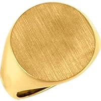 10K黄色ゴールドメンズ用ソリッドSignet Ring WithブラシFinishedトップ、サイズ: 10
