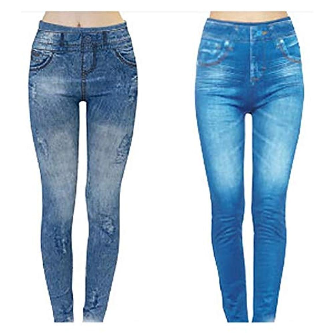 スカイ布金属コアシェイプジーンズ 2枚組 サックス?ブルー S-M