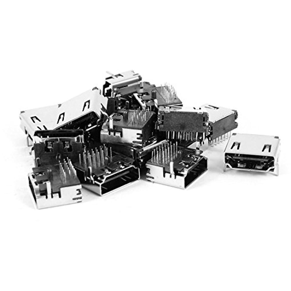風邪をひく乱闘復活させるuxcell HDMIジャック Aメスコネクタ基板実装ジャック 20個 19ピン 90度 ソケット ブラック
