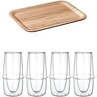 KINTO 10.6インチNonslip長方形Willowトレイと3Kronosダブルウォールガラスシャンパンガラス、セットの4