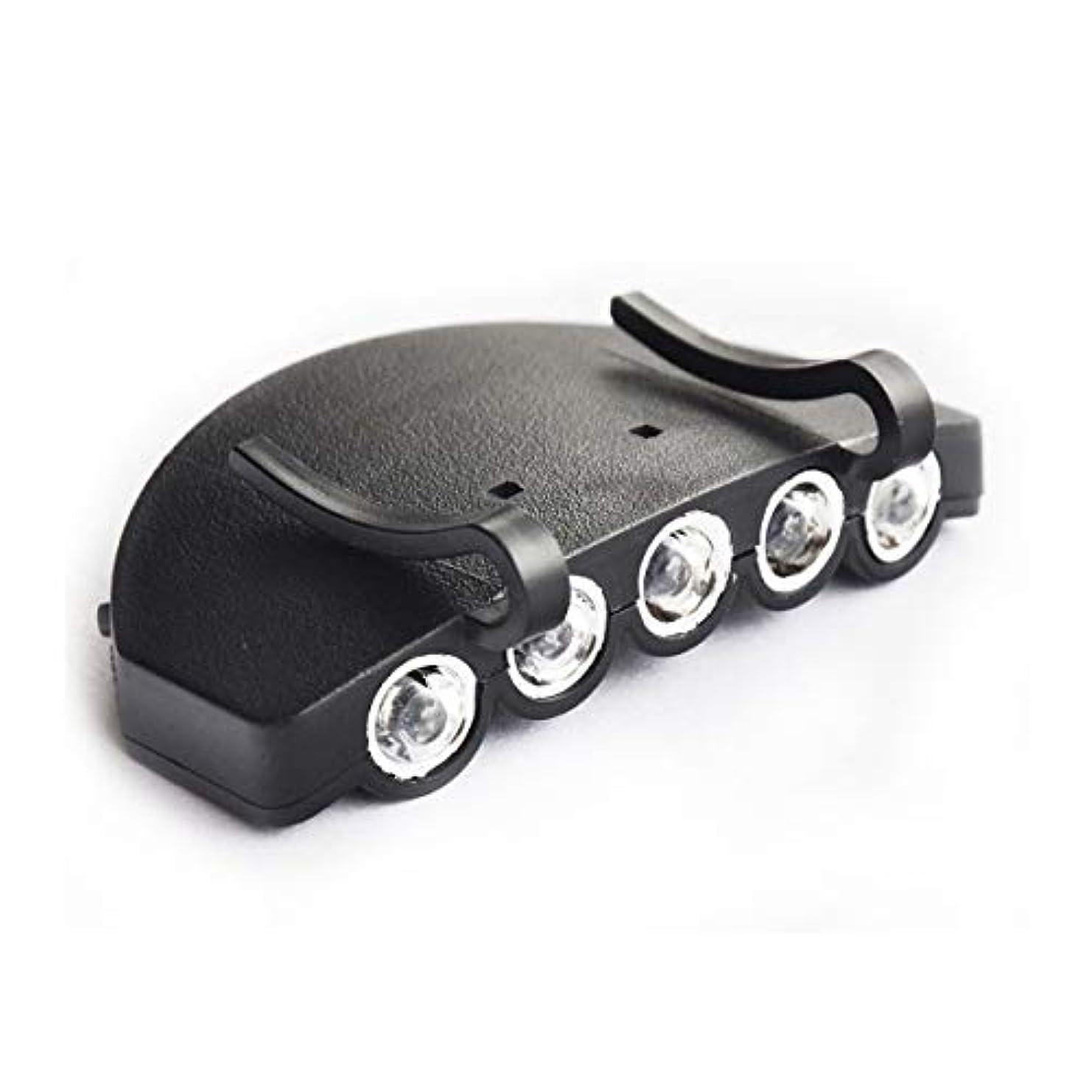 背の高い願望ネックレスキャップライト 5LED 白光ランプ 夜の釣り 帽子に挟んで使う 高輝度 ブラック ヘッドランプ アウトドア 釣り ランプ クリップキャップランプ光の帽子