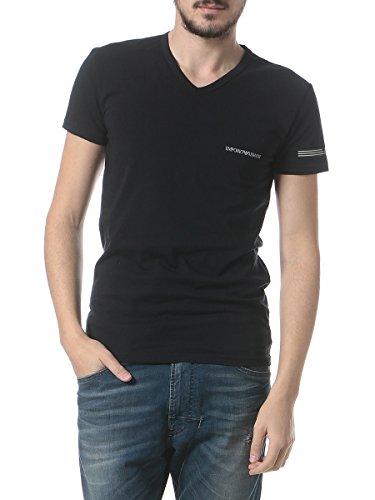 (エンポリオアルマーニ)EMPORIOARMANI胸ロゴ袖ライン入りVネック半袖Tシャツ[【EA1108107P723】]ブラック(00020)/M[並行輸入品]
