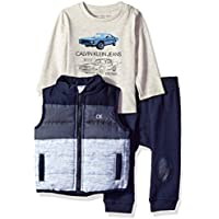 Calvin Klein Baby Boys 3 Pieces Vest Set-Jog Pants