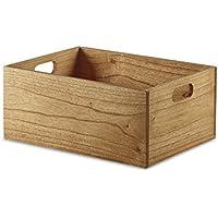 Design Ideas Marindi 収納ボックス 11インチ x 15インチ x 6.5インチ Mサイズ ミンディーウッド ストレージ クレートハンドル ブラウン