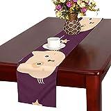 GGSXD テーブルランナー 面白い 紫色猫 クロス 食卓カバー 麻綿製 欧米 おしゃれ 16 Inch X 72 Inch (40cm X 182cm) キッチン ダイニング ホーム デコレーション モダン リビング 洗える
